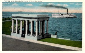 Plymouth, Massachusetts - Steamship sailing past the Portico over Plymouth Rock