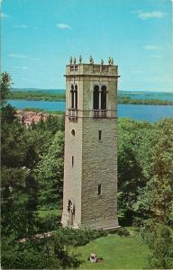 Madison~University Of Wisconsin Campus~Stone Tablet~Carillon Tower~1950 Postcard