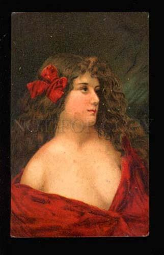 034290 Lady in Red Long Hair By Angelo ASTI old RUSSIAN RARE