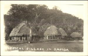Samoa - Typical Village Thatch Roof Homes c1920s-30s Real Photo Postcard