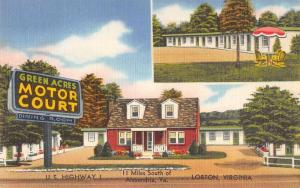 Lorton Virginia Green Acres Motor Court Linen Antique Postcard J77718