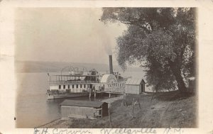 G92/ Ship RPPC Postcard Wellsville New York c1913 Steamer Yates Dock