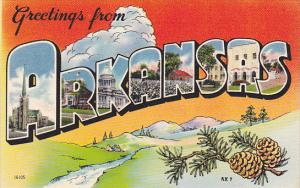 Greetings From Arkansas Large Letter Linen