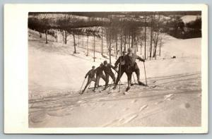 RPPC Uphill Spread Eagle Cross Country? Skiing~Five Men Having A Blast~1930s PC