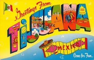 TiJuana Mexico~Large Letter CHROME Postcard~Bright Bold Colors~1950s PC
