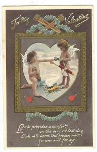 AS: TUCK 150, To My Valentine, two cupids standing over a camp fire keeping w...