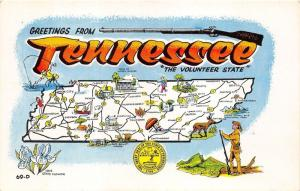 Tennessee State Map Postcard~Frontiersman~Rifle~Fisherman~Golfer~State Seal~'60s