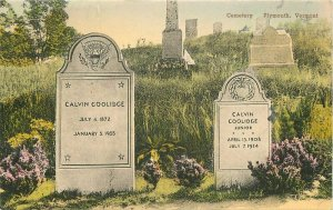 Albertype Cemetery Plymouth Vermont Hand Colored 1948 Postcard 20-4384