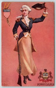 St John~Pennsylvania State Girl~Colonial Soldier Lady Waves Hat~1906 Nat'l Art