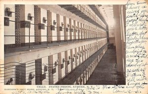 Cells, State Prison Auburn, New York, USA 1906 writing on front, postal marki...