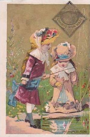 Granite Ironware Vintage Trade Card  Young Girls Fishing