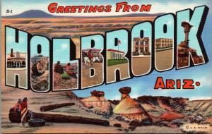 Holbrook Arizona~Large Letter Linen Postcard~Petrified Forest~Corner Drug~1938