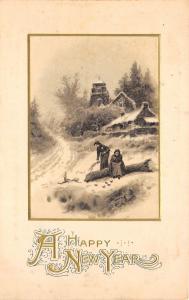 New Year~Poor Women Gather Kindling Sticks~Rest on Log~Emboss~John Winsch 1912