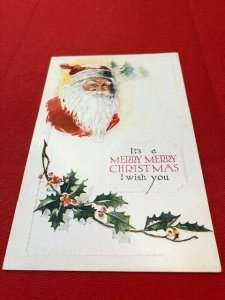 embossed postcard SANTA portrait It's a Merry Merry Chrismas I wish you