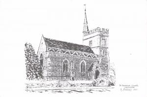 Postcard Art Sketch WARMINSTER St. Lawrence Church by R. Bettany (1977) #
