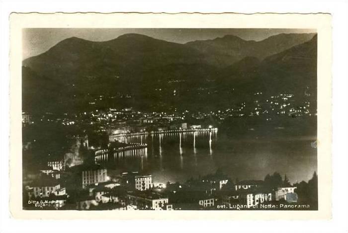 RP, Lugano Di Notte : Panorama, Lugano, Ticino, Switzerland, 1920-1940s