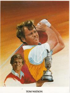 Tom Watson USA Open Golfer Golf 12x8 Large Board Card Painting Golf Ephemera
