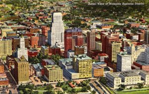 Tennessee Memphis Aerial View Of Business District 1948 Curteich