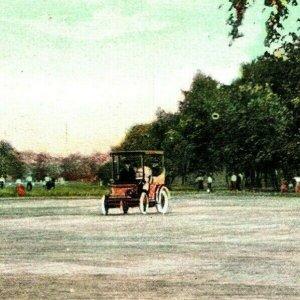 Vtg Carte Postale 1908 Chicago Illinois Il Allée Lincoln Park Vieux Automobile