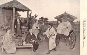 Japan Scene Afternoon Tea Rickshaw Antique Postcard J78187