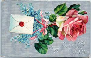 1910s Embossed Postcard Best Birthday Wishes Pink Rose Blue Flowers Letter