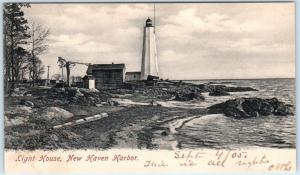 NEW HAVEN HARBOR, Connecticut  CT   LIGHTHOUSE Light House  1905   Postcard