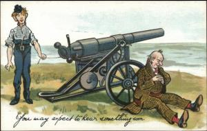 Old Man Asleep by Cannon About to Go Off EXPECT TO HEAR SOMETHING SOON c1910