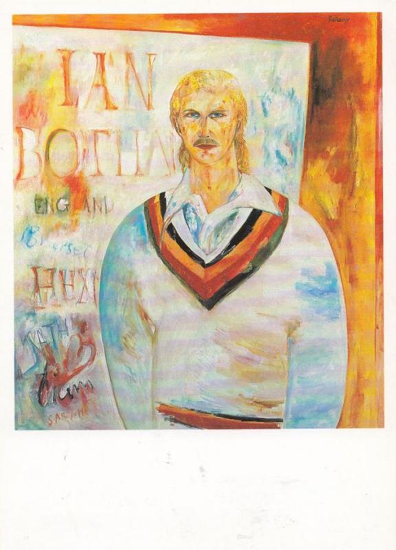 Ian Botham Oil Painting from National Portrait Gallery Cricket Artist Postcard