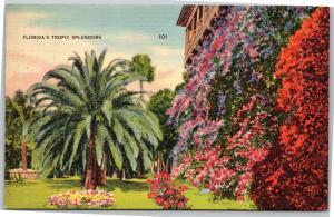 Florida's Tropic Splendors - flowers, palm trees - Posted 1939 - 1c Franklin