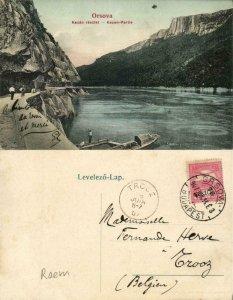 romania, ORȘOVA, Kazán Részlet, Danube (1907) Postcard