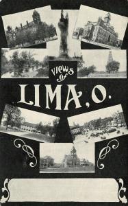 Lima Ohio~Multi Mini Vignettes~Oil Well Gusher~Court House~Downtown~c1905 B&W PC