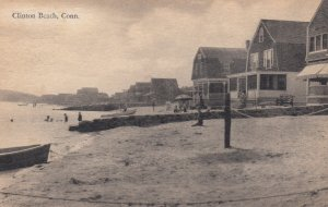 CLINTON BEACH, Connecticut, PU-1910; Homes on Beach front, Beach goers in water