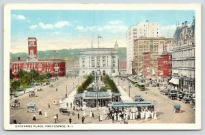 Providence Rhode Island~Exchange Place Birdseye View~People Wait for Train~1920s
