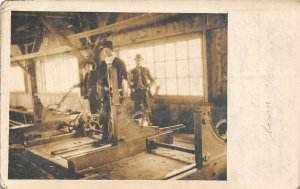 RPPC Railroad Workers in Shop With Machinery Closeup~1907 Real Photo Postcard