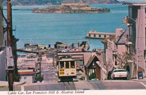 California San Francisco Cable Car On Hyde Street Hill With Alcatraz In Backg...
