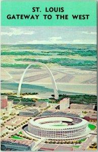 St. Louis MO Postcard GATEWAY TO THE WEST Arch / Busch Stadium Artist's View