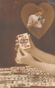 Gambling Cards Woman Fantasy Heart Tinted Real Photo Antique Postcard K40025
