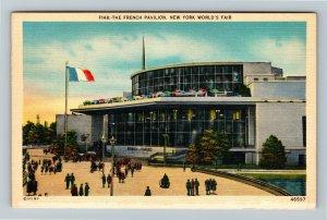 1939 New York World's Fair - The French Pavilion - Linen Postcard