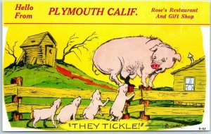 Plymouth, California Comic Postcard ROSE'S RESTAURANT and Gift Shop 1960s Unused