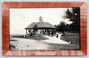 Fond du Lac WI~Victorian Lady on Path to Pavilion in Lake Park~c1910 Postcard