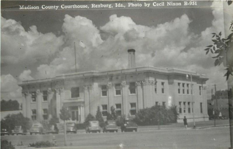 Rexburg Idaho~Madison County Courthouse~1930s Cars~1940 Real Photo Postcard~RPPC