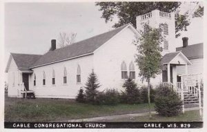 Wisconsin Cable Congregational Church Real Photo RPPC