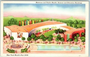 1939 New York World's Fair Postcard Science & Education Bldgs Grinnell Litho