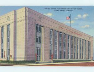 Linen POST OFFICE SCENE Terre Haute Indiana IN d8913