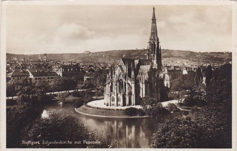 RP; Struttgart, Johanneskirche mit Feuersee, Baden-Wurttemberg, Germany, 10-20s