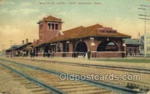 Santa Fe Depot, Fort Madison, IA, Iowa, USA Train Railroad Station Depot Post...