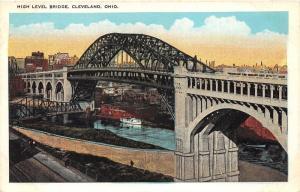 Cleveland Ohio~High Level Bridge~Coca-Cola~Skyline & Sunset in Distance~1920s Pc