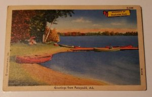 Vintage Postcard Greetings from Paragould Arkansas Reynolds Park lake canoes