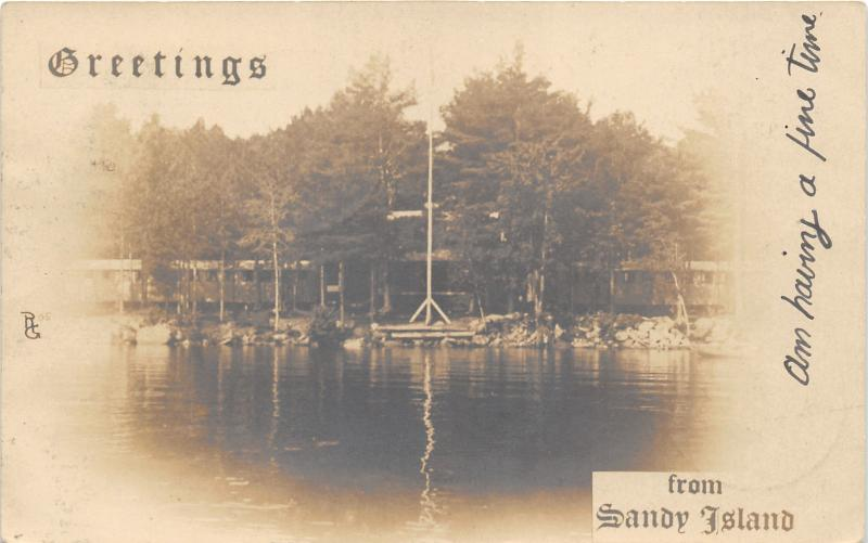 Sandy Island New Hampshire~Buena Vista YMCA Camp @ Lake Winnipesaukee~1905 RPPC