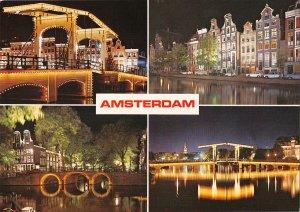 B108763 Netherlands Amsterdam Holland Bridge Night view Pont Voitures